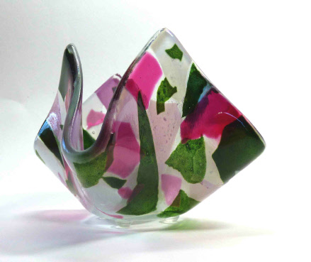 Tea light holder. Pink & green confetti